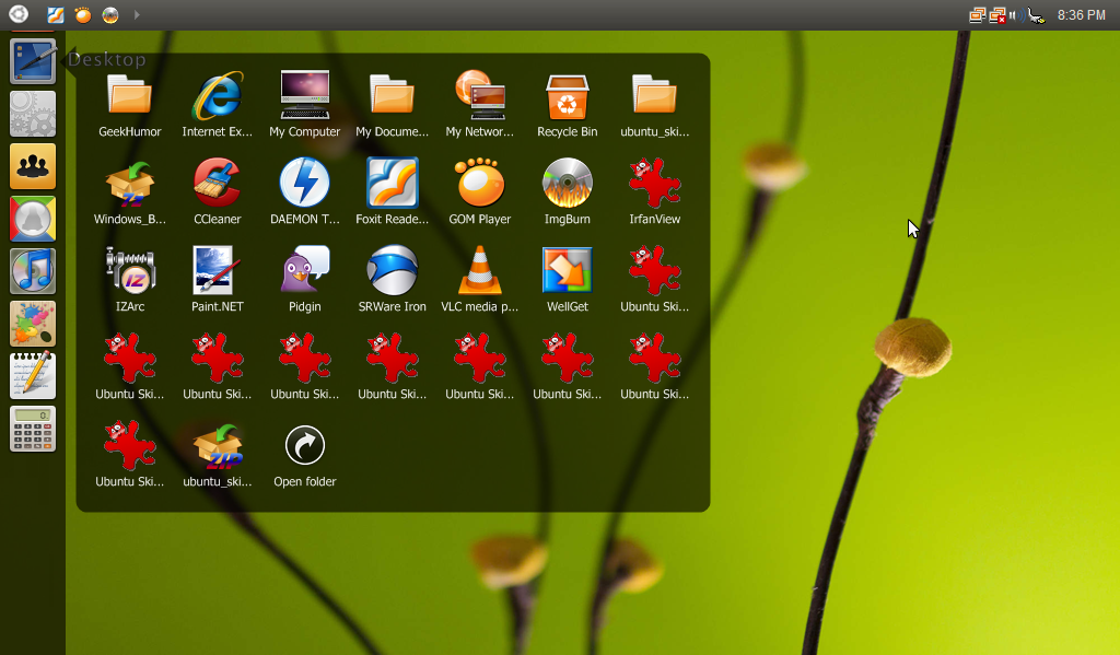 Ubuntu Skin Pack 4.0 for Windows XP SP3 - Transformed Desktop