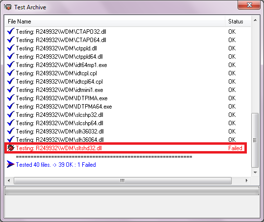 Testing a multipart archive in Windows