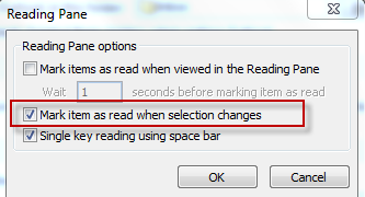 Changing the reading pane settings in Outlook 2010