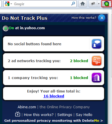 Ad trackers blocked by DNT+ on visiting websites