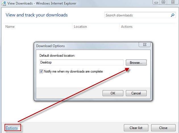 Changing the location where downloaded files are stored in IE9