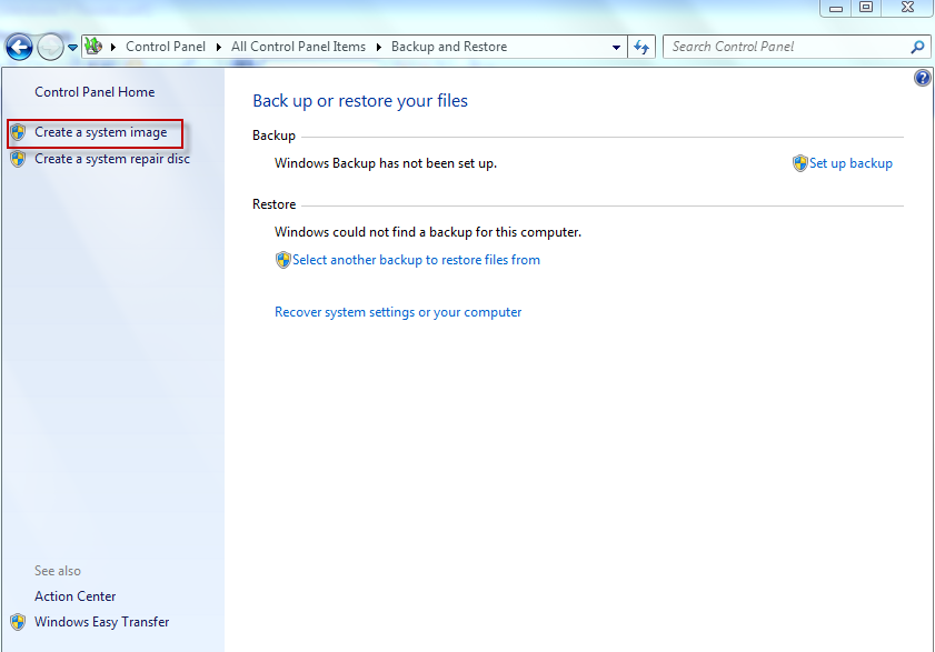 Selecting option of creating a Windows 7 system image