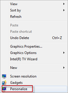 Personalization settings in Windows 7