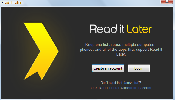 Account signup option for Read It Later