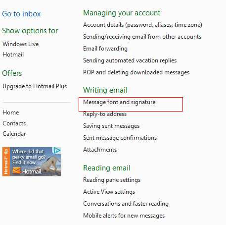 Accessing signature settings in Hotmail