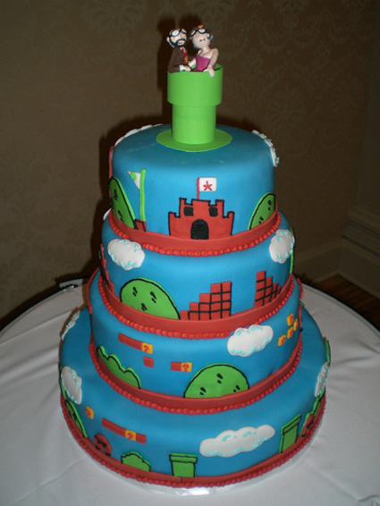 Mario fan wedding cake