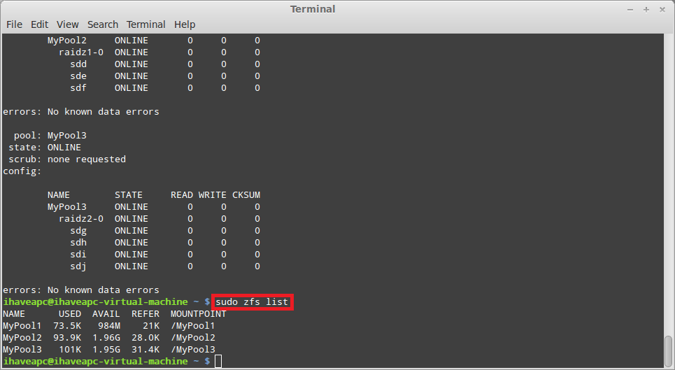 Installing and using zfs in linux mint ubuntu part 2 for Show zfs pool