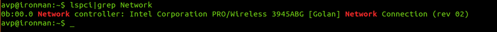 Display wireless adapter info through Linux terminal