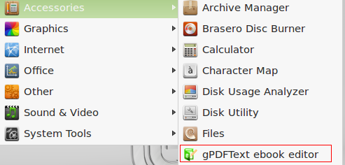 gPDFText editor installed in Linux Mint