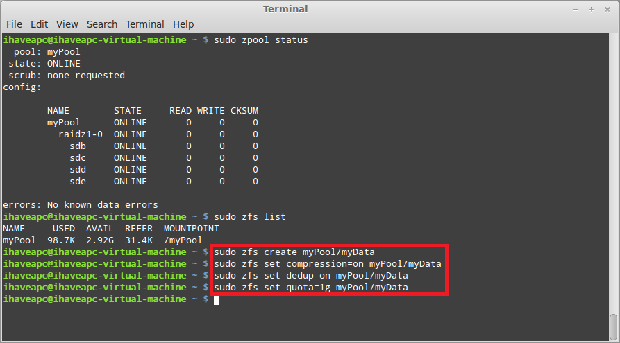Installing And Using ZFS In Linux Mint / Ubuntu – Part 5