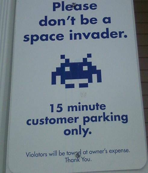 Space Invaders Sign : Funny