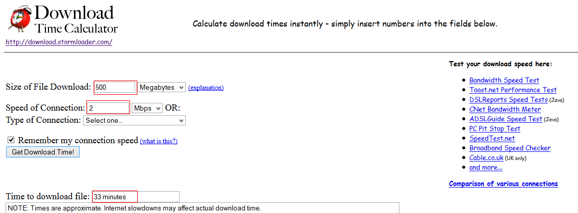 Quickly Calculate Download Times For Files Across Different