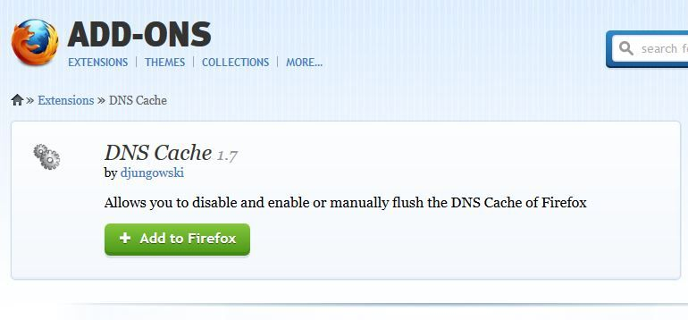 Installing DNS cache add-on in Mozilla Firefox