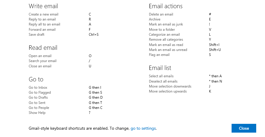 Gmail style keyboard shortcuts list in Outlook.com