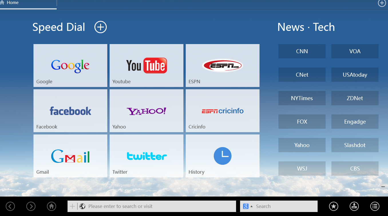 User interface of UC Browser HD