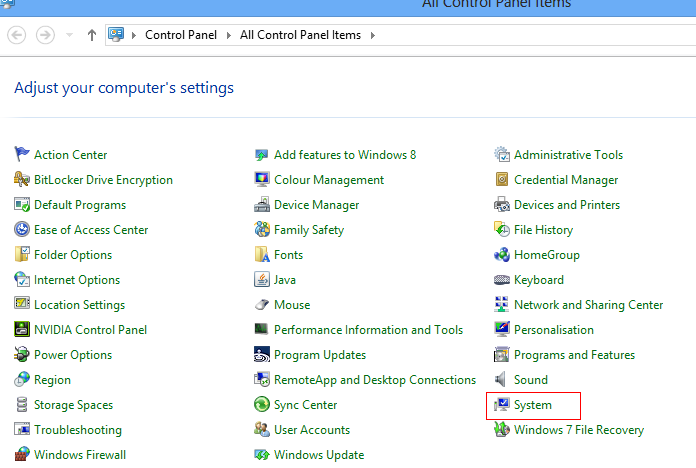 Access system settings from Windows 8 control panel