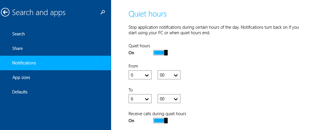 selecting quiet hours time intervals in Windows 8.1