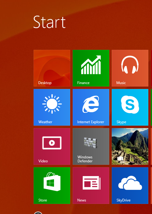 desktop background on Windows 8.1 start screen