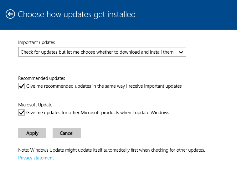 Choosing how Windows updates will be downloaded and installed in Windows 8.1