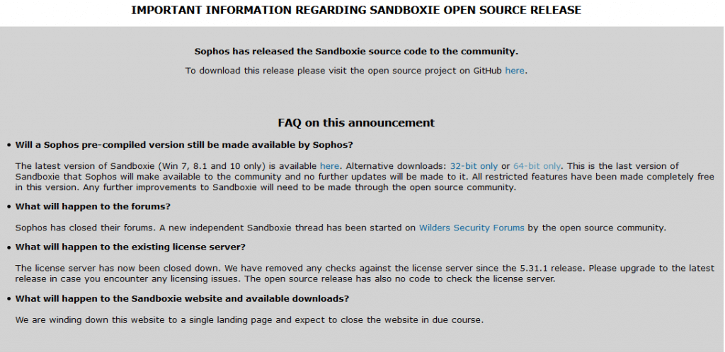sandboxie website closure announcement