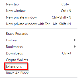 adding extensions option in brave browser