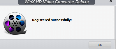 giveaway version of WinX HD Video Converter Deluxe registered successfully