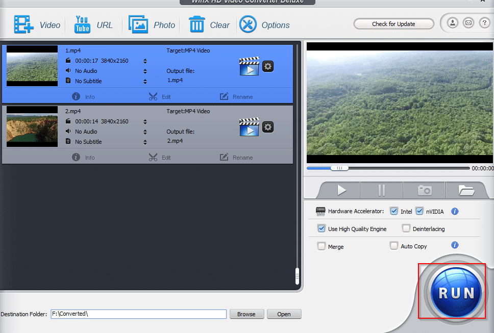 source videos added for conversion in WinX HD Video Converter Deluxe