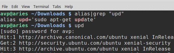 aliases for different commands