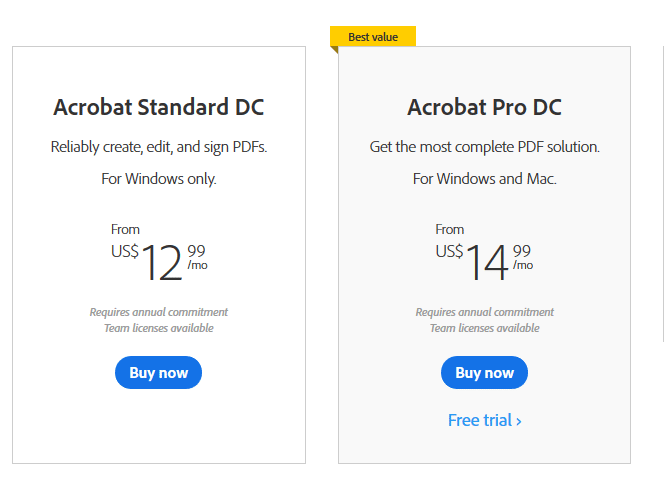 Adobe Acrobat DC pricing