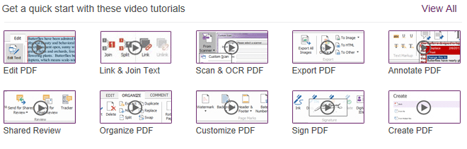 Foxit PhantomPDF video tutorials for different tasks