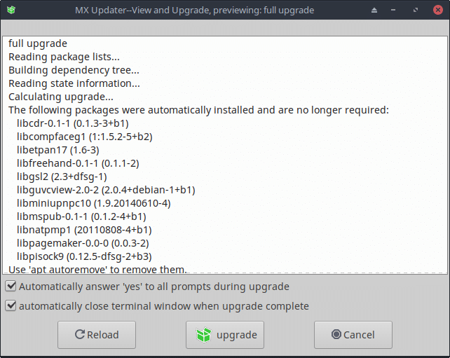 updating apps and packages using MX Updater