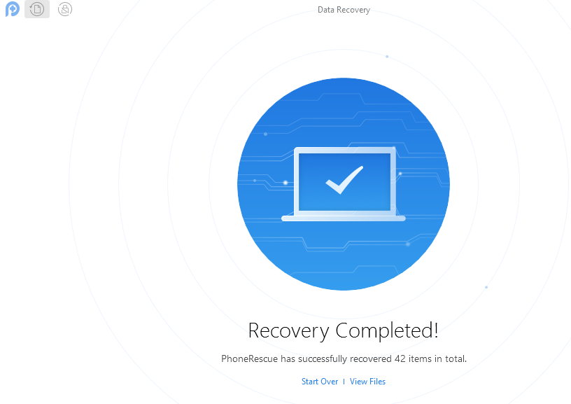 Android data recovery completed by PhoneRescue