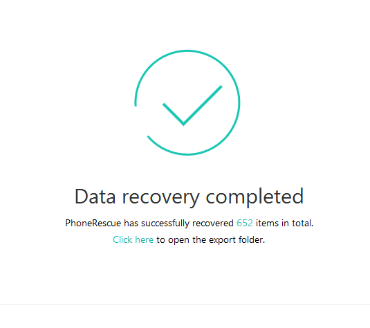 iOS data recovery completed using PhoneRescue