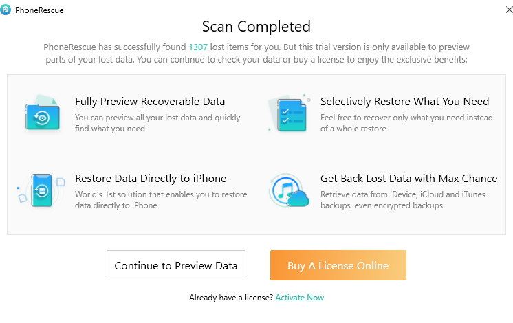 scan completed when using PhoneRescue for iOS