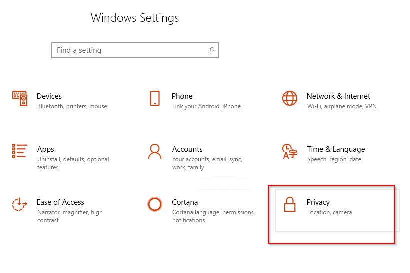 accessing Privacy settings in Windows 10