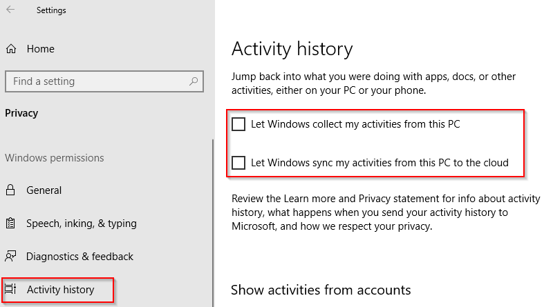 disabling Timeline in Windows 10