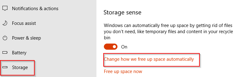 configuring Storage sense in Windows 10