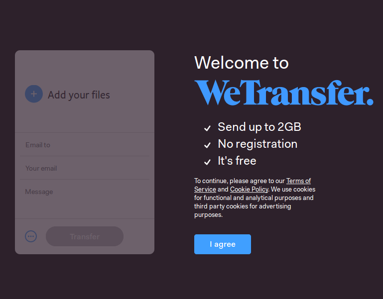 WeTransfer file sharing service
