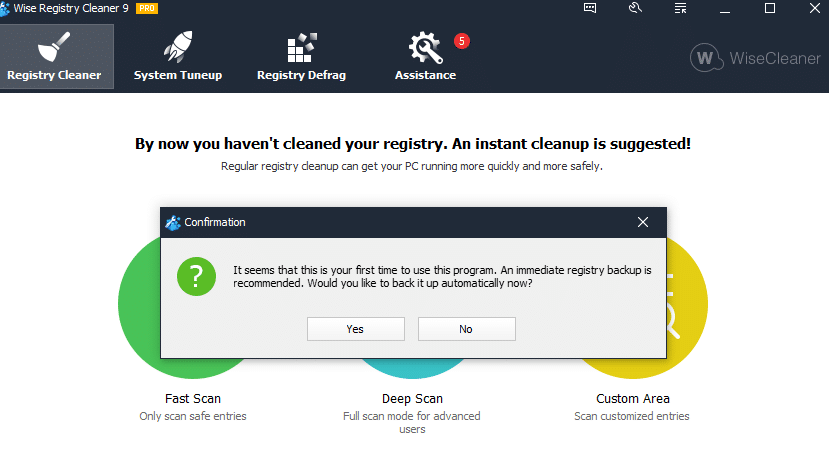 Wise Registry Cleaner first run