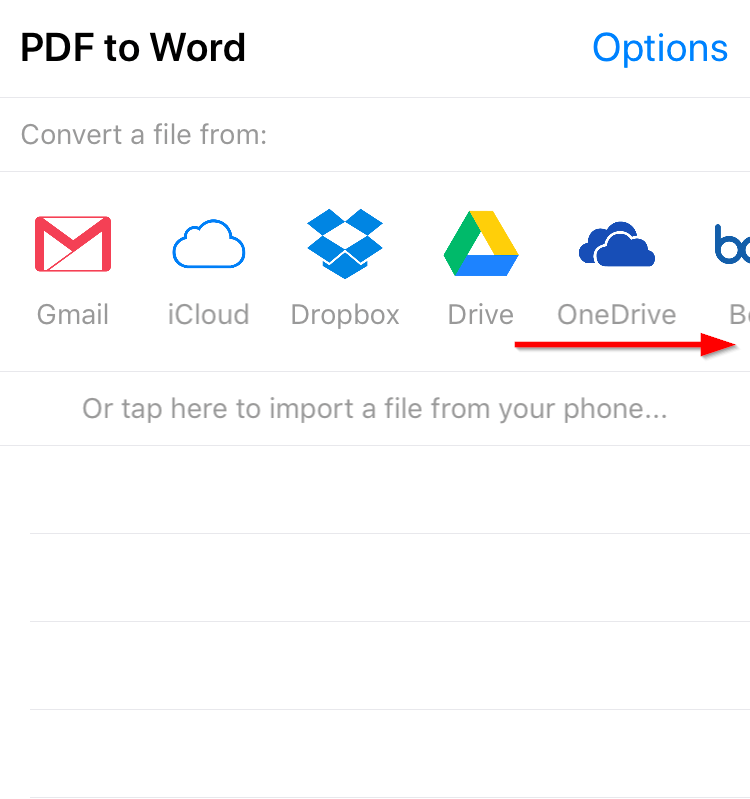 PDF to Word Converter app feature icons