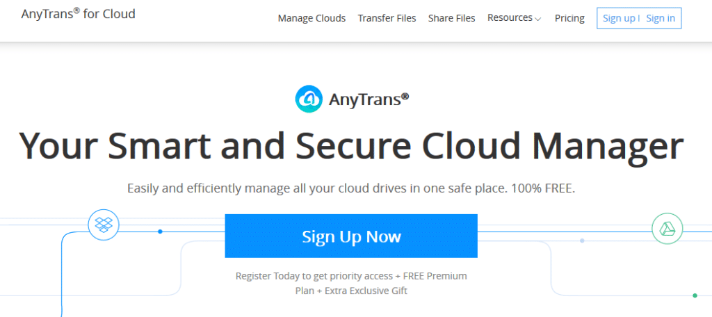 AnyTrans for Cloud sign up page