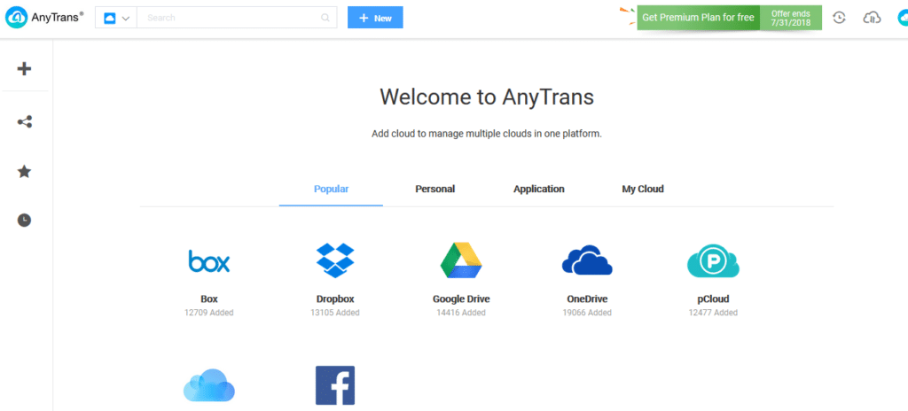 web interface of AnyTrans for Cloud