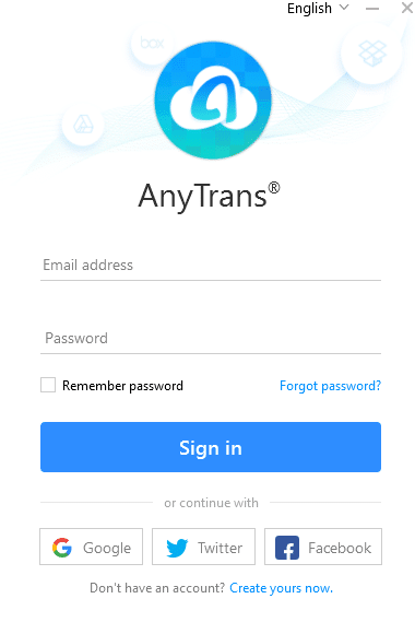 login page for desktop version of AnyTrans for Cloud