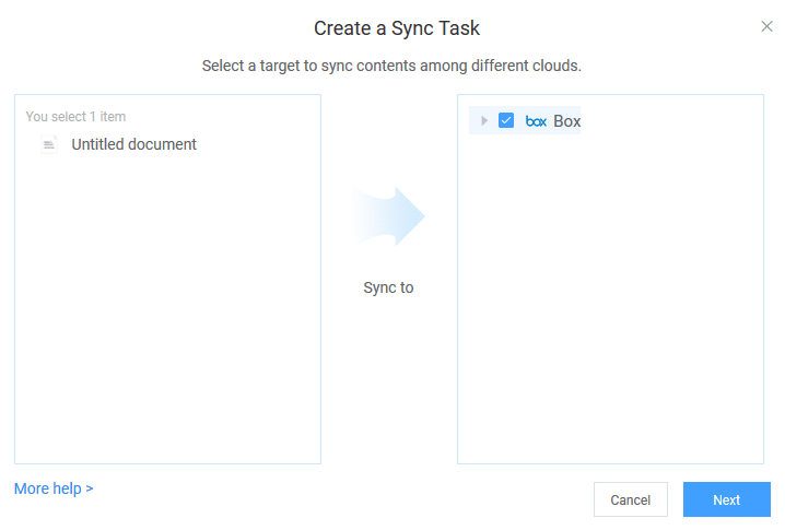 creating a sync task for transferring files between different cloud drives in AnyTrans for Cloud
