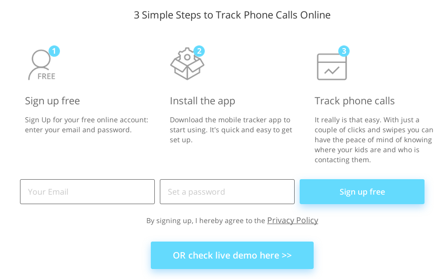 Cocospy sign up process