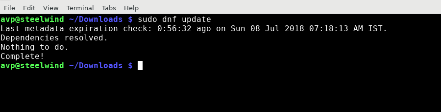 checking package updates in Fedora using dnf
