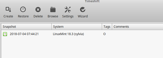 system snapshot of Linux Mint 18.3 Sylvia created using Timeshift before upgrading