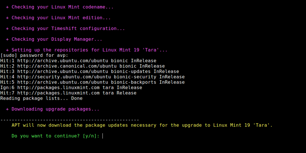 downloading upgrade packages for upgrading to Linux Mint 19 Tara