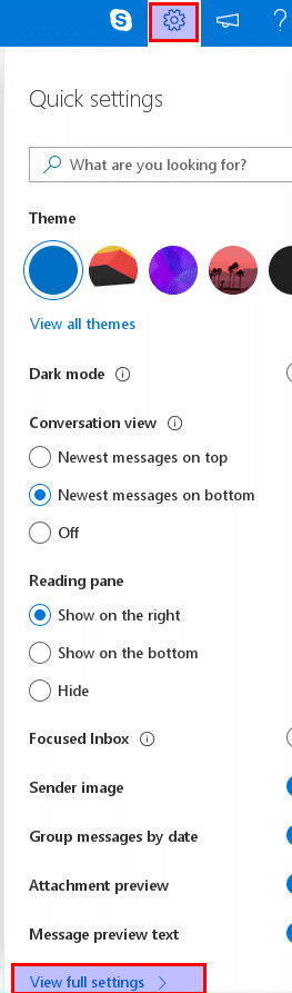accessing Outlook.com settings in beta mode