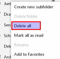 deleting all the junk emails in Outlook.com